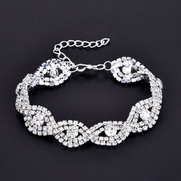 Elegant Deluxe Rhinestone Crystal Bracelet Bangle Jewelry For Women Girl Gift