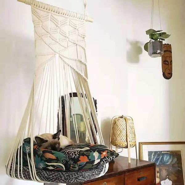 Boho Cat Swing Cage Handmade Macrame Pets Support Nordic Pet House Cats Hanging Sleep Chair Seats Toy Four Seasons Available