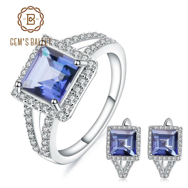 GEM'S BALLET Natural Iolite Blue Mystic Quartz Gemstone Jewelry Set 925 Sterling Silver Earrings Ring Set For Women Fine Jewelry
