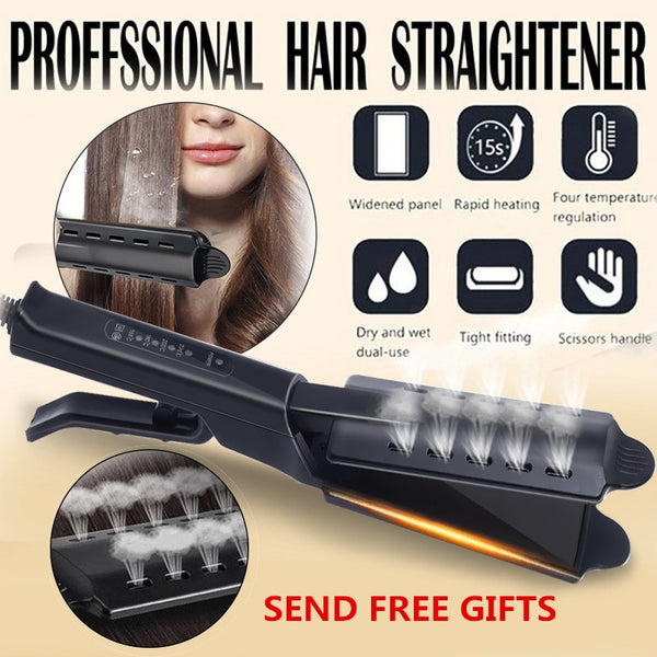 Hair Straightener Four-gear Temperature Adjustment Ceramic Tourmaline Flat Iron Women Hair Straightener Widen Panel Hair Curler