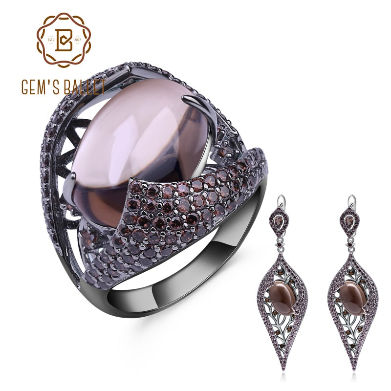 GEM'S BALLET Natural Smoky Quartz Vintage Gothic Jewelry Sets 100% 925 Sterling Silver Earrings Ring Set For Women Fine Jewelry