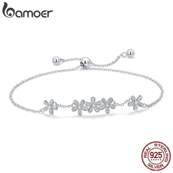 BAMOER Genuine 925 Sterling Silver Luminous Daisy Flower Women Bracelets Clear CZ Fashion Bracelet Jewelry Making Gift SCB084