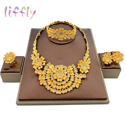 Liffly Ethiopian Jewelry Set Nigerian Beads Bridal Wedding African Costume Dubai Gold Neckace Jewelry Sets for Women