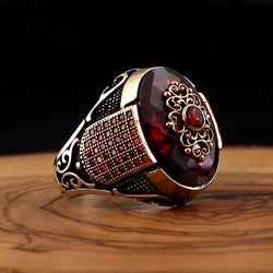 925 Sterling Silver Ring for Men Red Zircon Stone Jewelry fashion vintage Gift Aqeq Onyx Mens Rings All Size (made in Turkey)