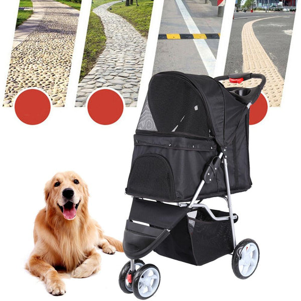 Pet Dog Puppy Cat Travel Stroller Pushchair Jogger Buggy Swivel 3 Wheels