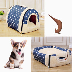 Removable Washable Pet Dog House Cat House Mat Cat Litter Cute Cat House Small Medium Sized Pet Dog Gave Dog Bed Lazy Animal Bed