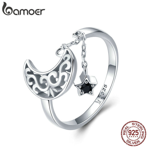 BAMOER Genuine 925 Sterling Silver Moon And Star Long Chain Star Adjustable Finger Ring for Women Sterling Silver Jewelry SCR479
