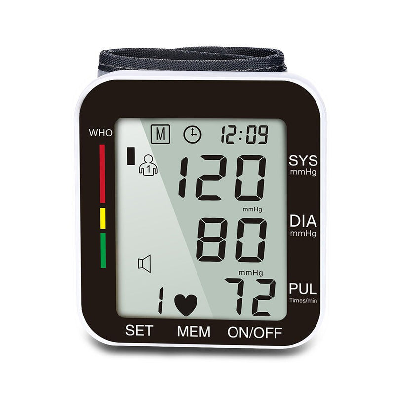 English Voice Cuff Wrist  Blood Presure Meter Monitor Heart Rate Pulse Portable Tonometer LCD Display Sphygmomanometer