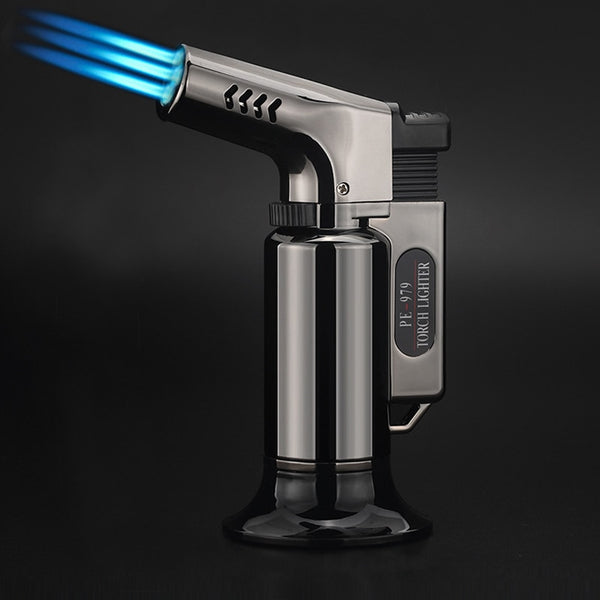 Windproof Jet Torch Lighter Turbo Gas Three Nozzles BBQ Spray Gun Refillable Gas Butane Cigar Cigarettes Pipe Lighter outdoor