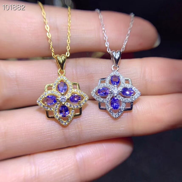 Natural blue tanzanite gem pendant S925 silver Natural gemstone Pendant Necklace ancient Clover square women party gift jewelry