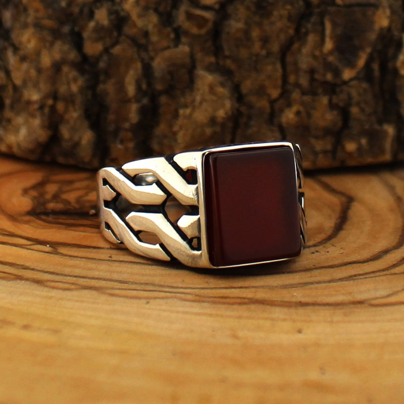 925 Sterling Silver Ring for Men Red Aqeeq Stone Jewelry fashion vintage Gift Zircon Onyx Mens Rings All Size (made in Turkey)