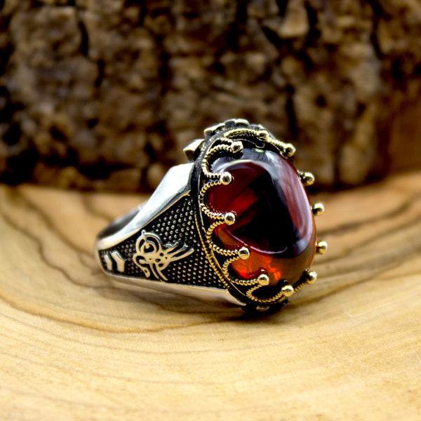 925 Sterling Silver Ring for Men Red Zircon Stone Jewelry fashion vintageGift Onyx Aqeq Mens Rings All Size Made in turkey