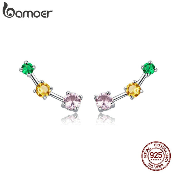 BAMOER Spring Collection 925 Sterling Silver Colorful Square Zircon Exquisite Stud Earrings for Women Fashion Jewelry SCE495