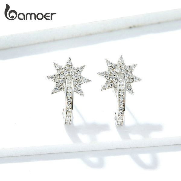 bamoer Wedding Statement Earrings for Women Genuine 925 Sterling Silver Crystal Fine Jewelry Brincos 2020 NEW GAE258