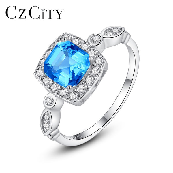 CZCITY Genuine 925 Sterling Silver 6mm Blue Square Topaz Brilliant Rings for Women Luxury Engagement Wedding Bride Rings Jewelry