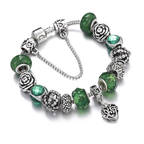 New Charm Green Crystal Tree of Life Beads Bracelets&Bangles Sliver Snake Chain Snap Button Women DIY Fit Bracelet Femme Jewelry