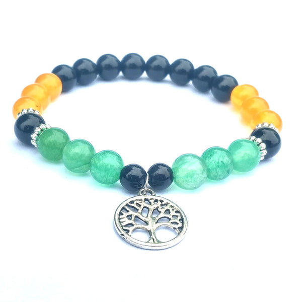 Tree of Life Green 8mm Yellow Black Stone Beads Bracelet Yoga Natural Stone Friendship Beads Bracelet Jewelry