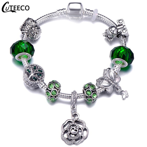 CUTEECO New Rose Dangle Charm Bracelet Unicorn Owl Tree of Life Green Crystal Beads Bracelets For Women Jewelry DIY Pulseras