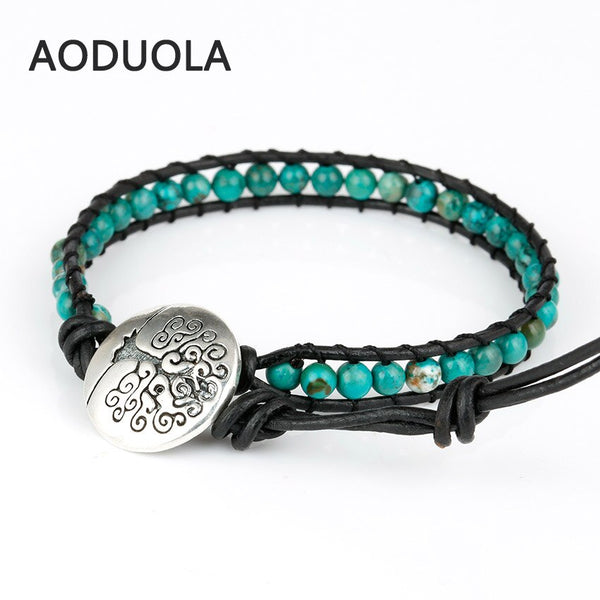 Green Natrul stone with life Tree button Adjustable bracelets for women Men Handmade Bracelet charm Bracelet jewelry