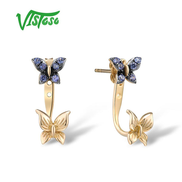 VISTOSO Pure 9K 375 Yellow Gold Earrings For Women Stud Earrings Created Sapphire Butterfly Earrings Elegant Trendy Fine Jewelry