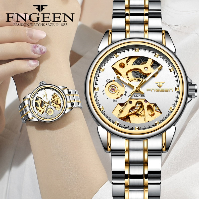New Fashion Women Mechanical Watch Skeleton Design Top Brand Luxury Full Steel Waterproof Female Automatic Clock Montre Femme