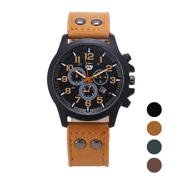Men Watch Vintage Classic Mens Luxury Waterproof Date Leather Strap Casual Sport Quartz Army Leather Mens Wrist Watch Clock #45