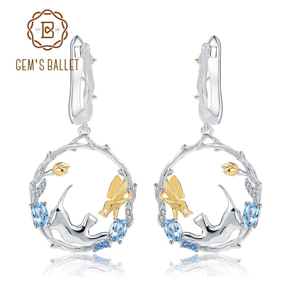 GEM'S BALLET 1.17Ct Natural Swiss Blue Topaz Earrings 925 Sterling Silver Handmade Cat & Cupid Drop Earrings for Women Bijoux