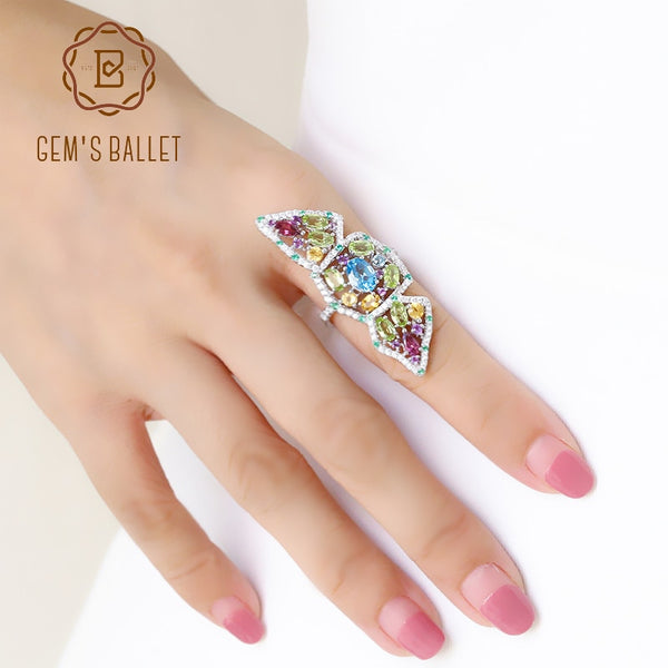 GEM'S BALLET Multicolor Natural Topaz Amethyst Garnet Peridot Citrine Ring 925 Sterling Silver Section Rings For Women Jewelry