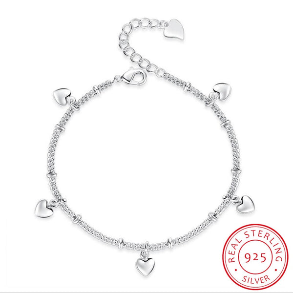 925 Sterling Silver Bracelets For Women Five Love Heart Charm Silver Chain Bracelet pulseira Gift Wedding Lucky Fine Jewelry