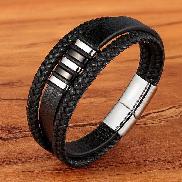 High Quality Stainless Steel Charm Stackable Layered Bracelet Leather Genuine Braided Black Bracelet for Men's Hand Jewelry