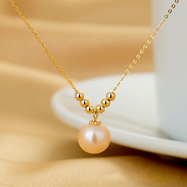 SA SILVERAGE18K Yellow Gold Freshwater Pearl Pendant Necklaces for Woman Pink/White/Purple Round Ball Pearl Necklaces
