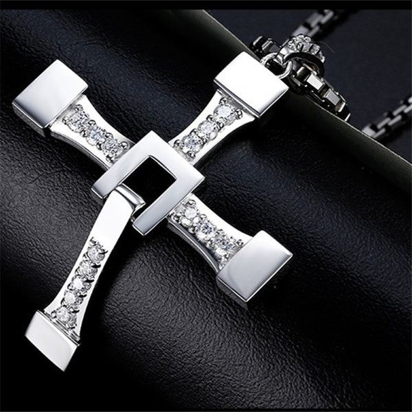 Fast and Furious Cross Necklace Dominic Toretto Cross Rhinestone Pendant Necklace Stainless Steel Necklace for Men