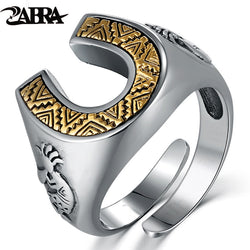 ZABRA Solid 925 Sterling Silver Horseshoe Indians 14mm Wide Steampunk Opening Rings For Men Women Vintage Retro Male Jewlery