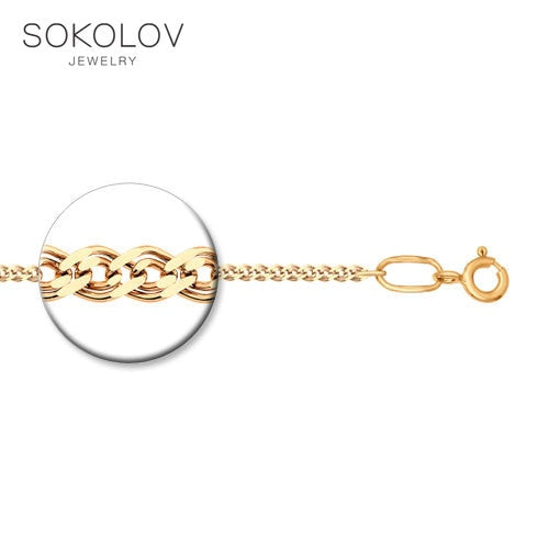 Gold plated chain SOKOLOV Silver fashion jewelry silver 925 women's/men's, male/female, chain necklace