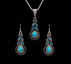 Crazy Feng Fashion Jewelry Hot Sale Ethnic Blue Stone Jewelry Sets Tibetan Silver Necklace Earrings For Women