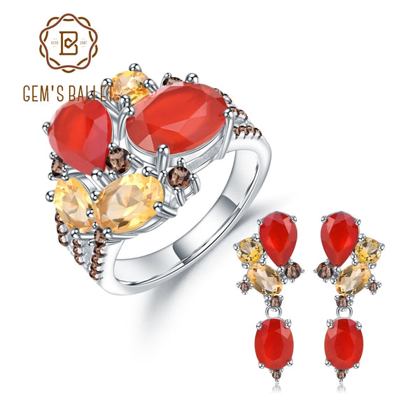 GEM'S BALLE Natural Red Garnet Citrine Ring Earrings Sets 925 Sterling Silver Colorful Candy Jewelry Set For Women Fine Jewelry