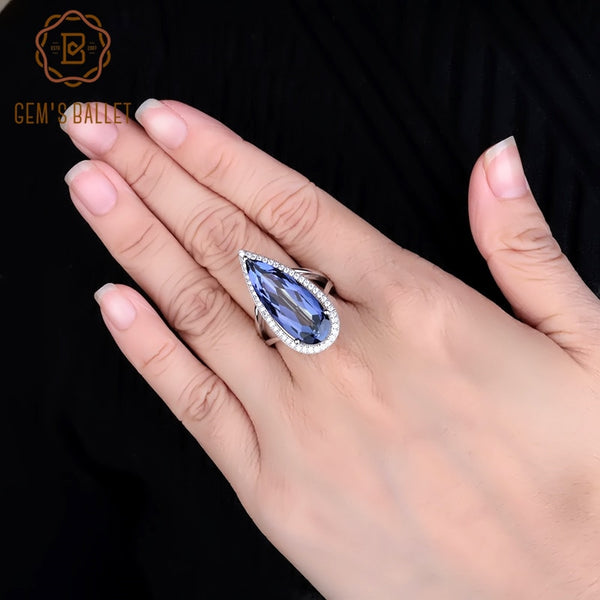 GEM'S BALLET Big Water Drop 11.48Ct Natural Iolite Blue Mystic Quartz Finger Ring New 925 Sterling Sliver Ring For Women Wedding