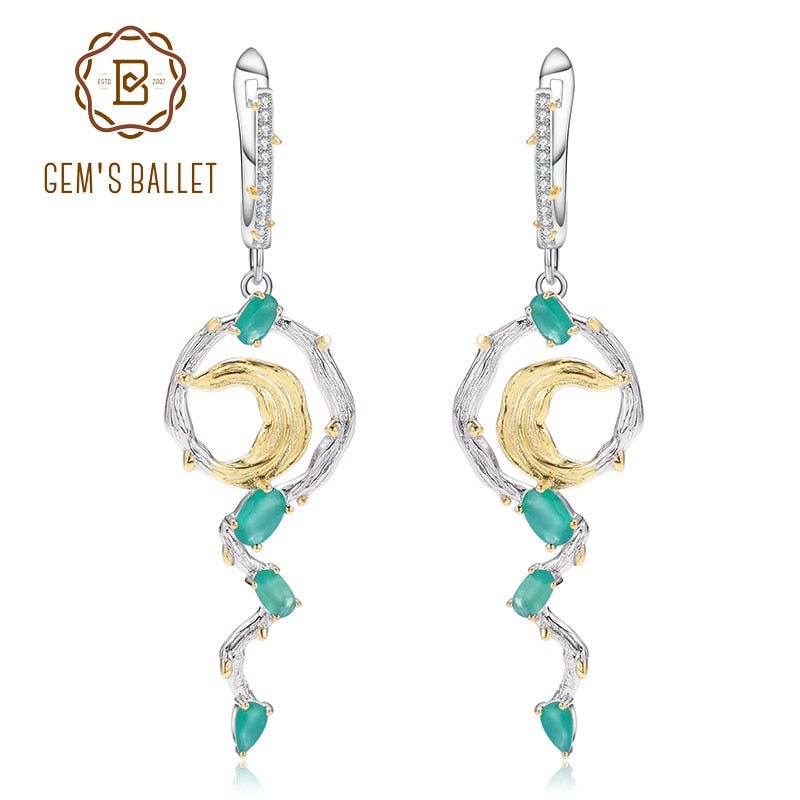 GEM'S BALLET 100% 925 Sterling Silver Fashion Drop Earrings For Women Natural Green Agate Engagement Earrings Fine Jewelry