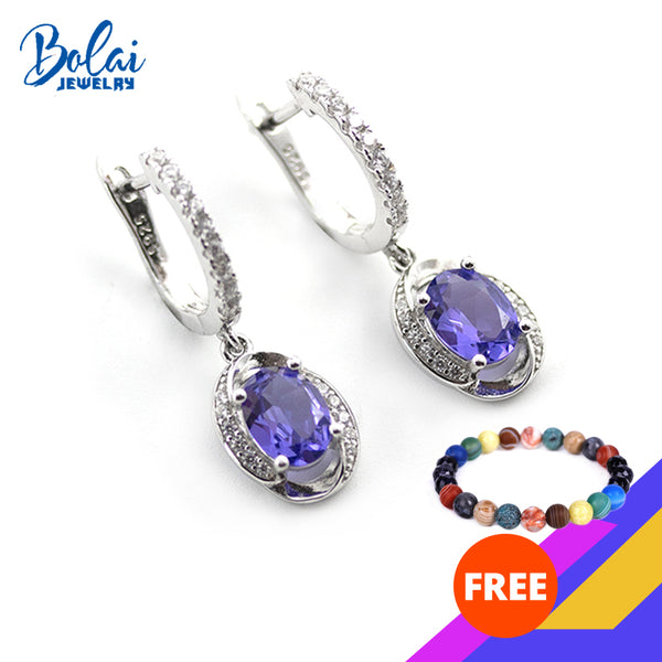 2.2Ct Tanzanite clasp earrings genuine 925 sterling silver created gemstone fine jewelry dangle earring for women girls gift