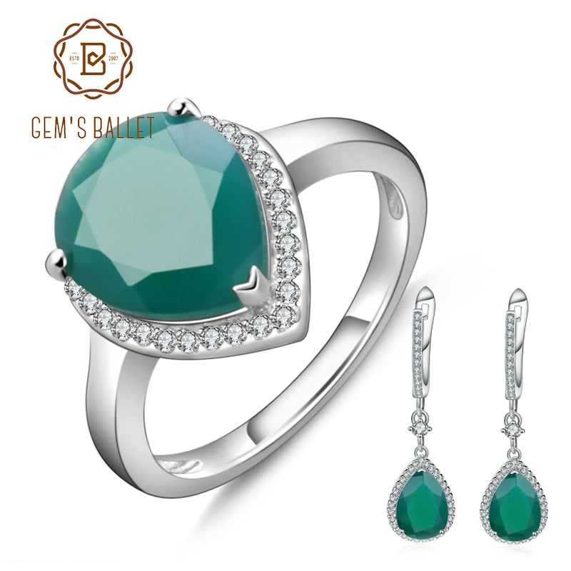 GEM'S BALLET Solid Water Drop Natural Green Agate Jewelry Set For Women 925 Sterling Silver Gemstone Vintage Earrings Ring Set
