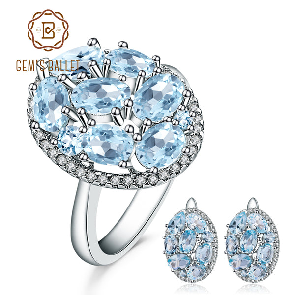 GEM'S BALLET 11.40ct Oval Natural Sky Blue Topaz Classic Gemstone Jewelry Sets 925 Sterling Silver Earrings Ring Set For Women