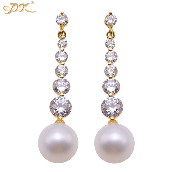JYX Fashion Sparking Natural Pearls Earrings 9mm Cultured Freshwater Pearl 925 silver Dangle Drop Earrings