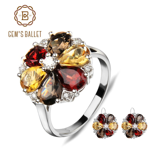GEM'S BALLET New Natural Garnet Smoky Quartz Citrine Jewelry Set 925 Sterling Silver Flowers Earrings Ring Set For Women Wedding