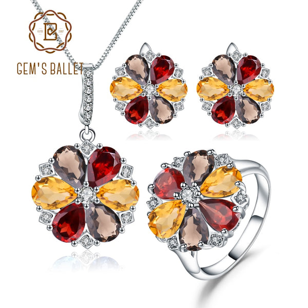 GEM'S BALLET 925 Sterling Silver Ring Earrings Pendant Set Natural Garnet Smoky Quartz Citrine Jewelry Set For Women Wedding