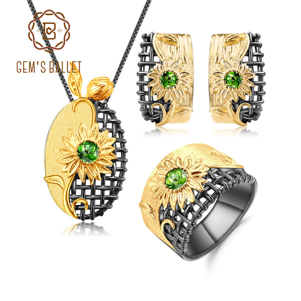 GEM'S BALLET Ring Earrings Pendant Sets Natural Chrome Diopside 925 Sterling Silver Handmade Sun Flower Jewelry Set For Women