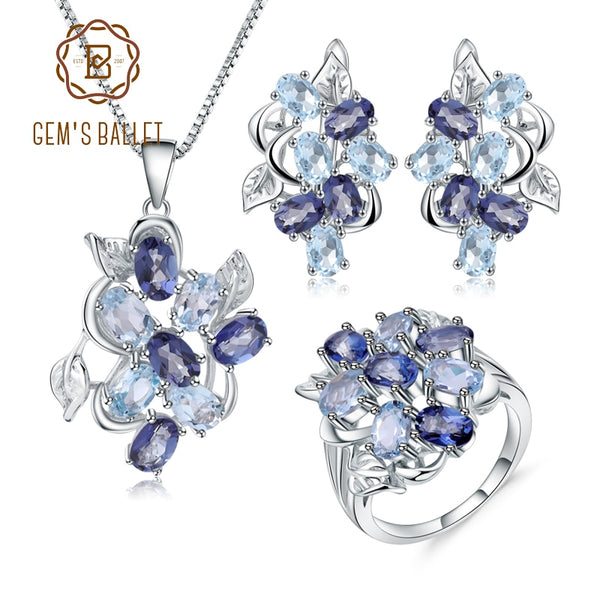 GEM'S BALLET Natural Sky Blue Topaz Mystic Quartz Classic Jewelry 925 Sterling Silver Leaves Ring Earrings Pendant Set For Women