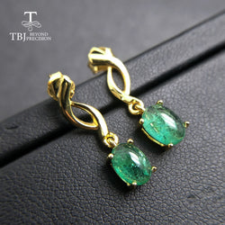 TBJ,lovely delicate natural emerald gemstone earring elegant earring in 925 sterling silver yellow gold color for women with box