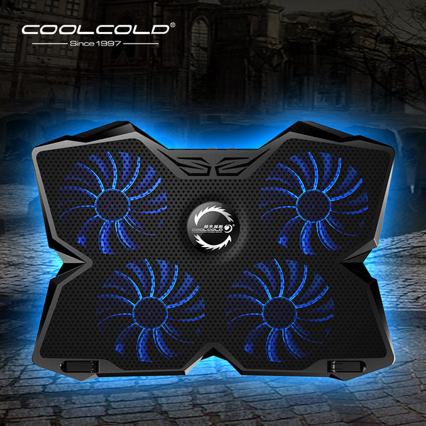 Laptop Cooler Laptop Cooling Pad Notebook Gaming Cooler Stand with Four Fan and 2 USB Ports for 14-17inch Laptop