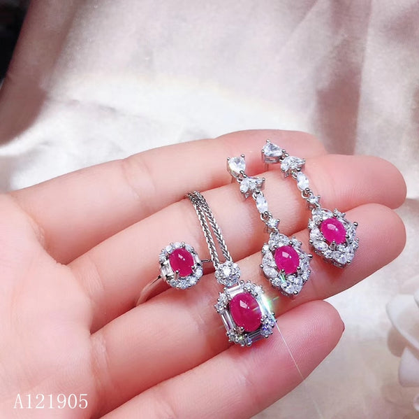KJJEAXCMY boutique jewelry 925 sterling silver inlaid natural ruby female models luxury earrings ring pendant necklace set supp
