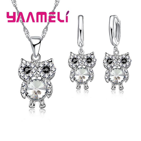 Beautiful New Arrival Fashion Owl Jewelry Sets 925 Sterling Silver Beautiful CZ AAA Crystal Necklace Earrings for Wedding Party